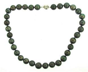 14k White Gold Black Tahitian Pearl Strand Necklace