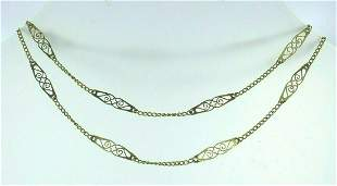 VICTORIAN 14k Yellow Gold Chain Necklace Circa 1900s