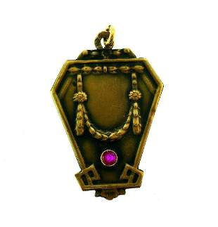 Antique Russian 14k Yellow Gold Ruby Octagon Shape