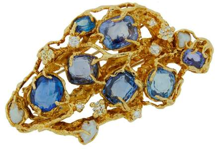 ARTHUR KING Sapphire Diamond Pearl Gold BROOCH PIN CLIP