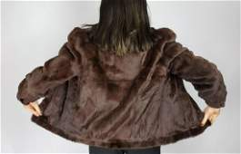SHEARED BROWN LAPIN FUR JACKET SIZE S