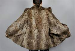 VINTAGE BROWN BLACK SPOTTED FUR COAT SIZE M
