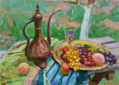 Oil painting Cumgan and fruits Tepeta Miacheslav