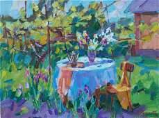 Oil painting Table in the garden Tepeta Miacheslav