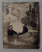 Brilliant Tintype of 2 Handsome Men in a Rowboat