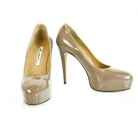 Brian Atwood Taupe Patent Leather Platform High Heel