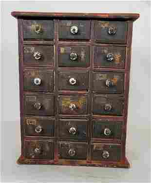 Painted set of 18 spice drawers ca 1840-60