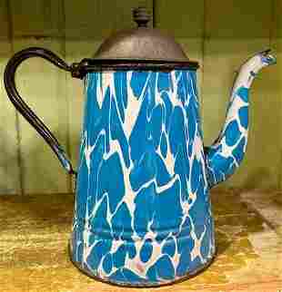 ANTIQUE BLUE & WHITE SWIRL COFFEE POT SPATTERWARE