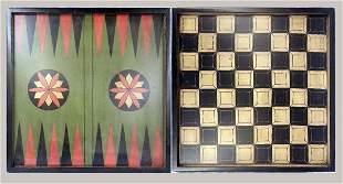 Colorful Polychromed Backgammon Board Game