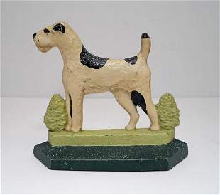 """My Pal Fox Terrier Dog Cast Iron Doorstop 1929"