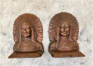 Pair Early 20thc Cast Iron Native American Bookends