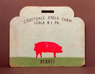 DUROCS PIG HERDING BOARD & Sign, early 20th c