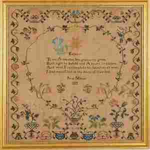 Needlework Sampler from Lancaster, PA dated 1830