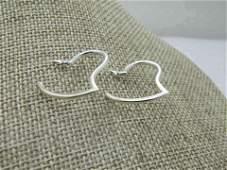 """Vintage Sterling Heart Hoop Earrings, Pierced, 1"""","""