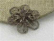 Vintage Sterling Filigree Floral Blossom Brooch,