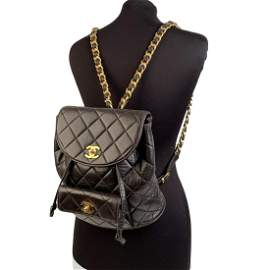 Chanel Vintage Black Quilted Leather Small Backpack
