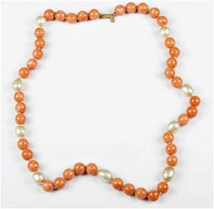 Kenneth Lane Faux Pink Coral and Faux Baroque Pearl