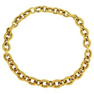 David Yurman Large Oval Link Choker Necklace in Yellow