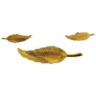 Tiffany & Co. Silver Feather Earrings and Brooch Set