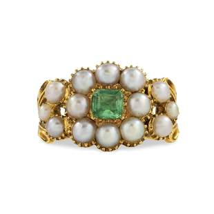 A Regency Pearl And Emerald Cluster Ring