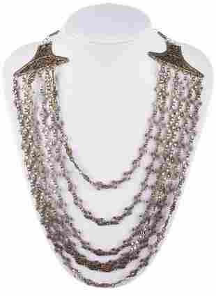 Sterling Silver Filigree Chain Bib Necklace