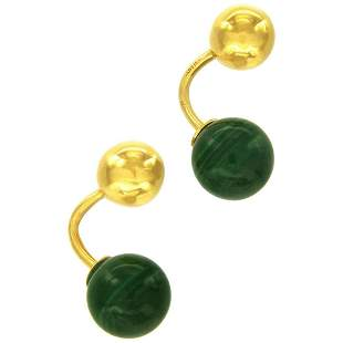 Cartier Vintage Yellow Gold and Malachite CuffLinks
