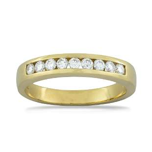 A Yellow Gold Half Eternity Ring