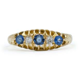 Victorian 18ct Gold Sapphire And Diamond Ring