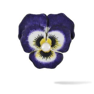 An Antique Enamel And Pearl Pansy Brooch