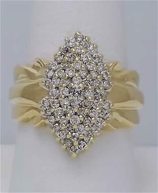 10k YELLOW GOLD 1.00ct ROUND DIAMOND CLUSTER CASCADE