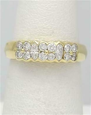14k YELLOW GOLD TWO ROW 1/2ct VS2 ROUND MARQUISE