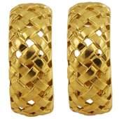 Vintage Tiffany & Co. Wheat Basket Weave Gold Hoop
