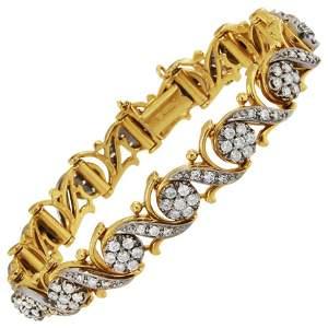 Jabel 18 Karat White and Yellow Gold Diamond Cluster