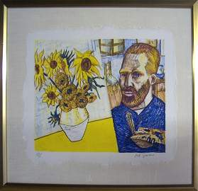 Red Grooms - van Gogh with Sunflowers