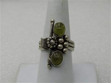 Vintage Sterling Quartz Ring, Floral/Beaded,  Boho, Sz.