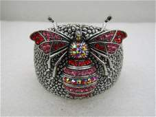 "Wide Red Rhinestone Bee Hinged Bracelet, 7"", 2"" wide NL"
