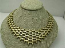 "Vintage Woven V Drop Bib Necklace, 19""  with 1.5 Drop,"