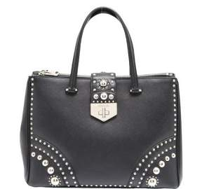 """Prada"" Black leather ""Saffiano"" handbag"