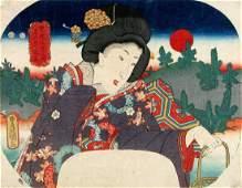 Utagawa KUNISADA: Beauty holding a basket