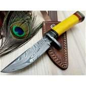Camping work damascus steel knife bone wood brass