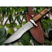 Camping everyday carry damascus steel knife wood brass