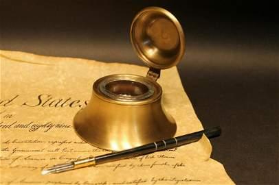 Brass w Glass Inkwell Ink pot Bottle