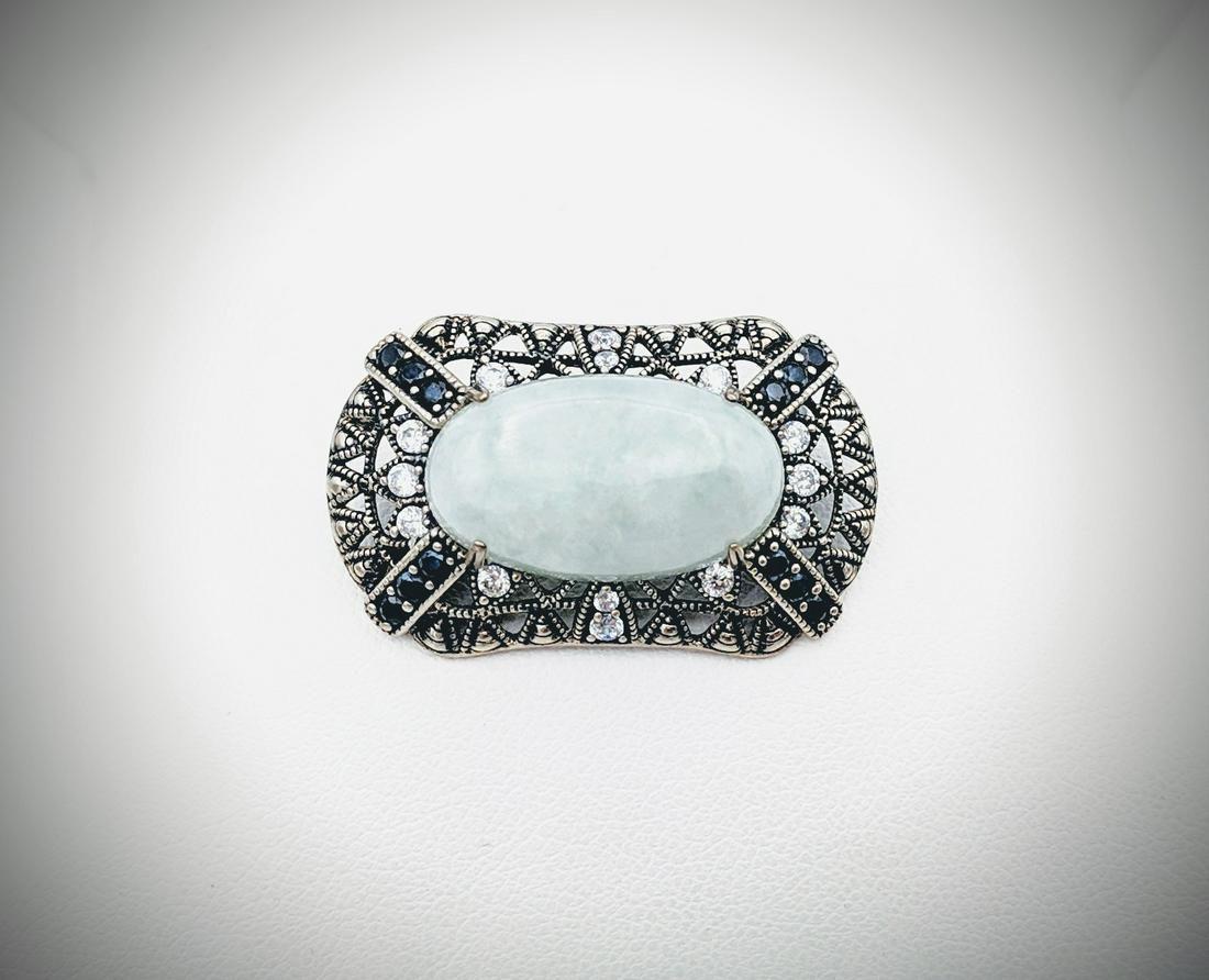 925 SS Jade Brooch w Black Diamonds & CZs