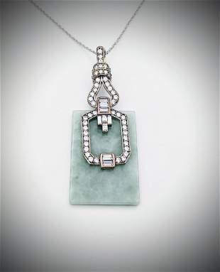 925 SS Necklace & Cocktail Pendant w Jade & CZs