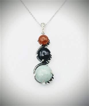 925 SS Necklace & Pendant w Jasper, Nuumite & Jade