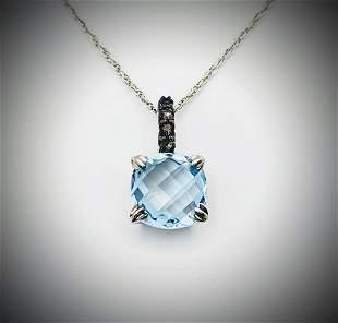 925 SS Necklace w Blue Topaz & Smoky Quartz Pendant