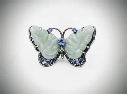 925 SS Sz 7 Butterfly Ring w Jade & Amethyst