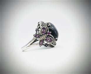925 SS Sz 7 Butterfly Ring w Nuumite, Pink Amethyst &