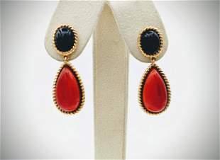 Black Onyx & Carnelian Earrings