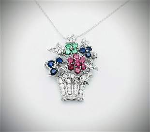 Necklace & Brooch-Pendant w Diamond Q. CZs, Blue